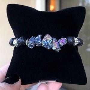 Silverskylight Jewelry - Genuine purple druzy quartz lava rock bracelet